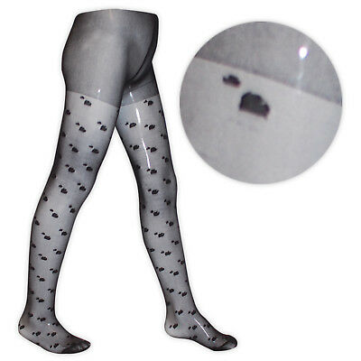 New Girls Hearts Tights Ages 1-11 Black Pink White Cream Bridesmaid Communion 5