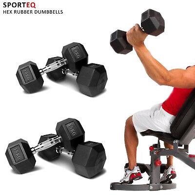 SportEQ Hex Dumbbells Rubber Encased Ergo Weights Sets Hexagonal Dumbbell Gym