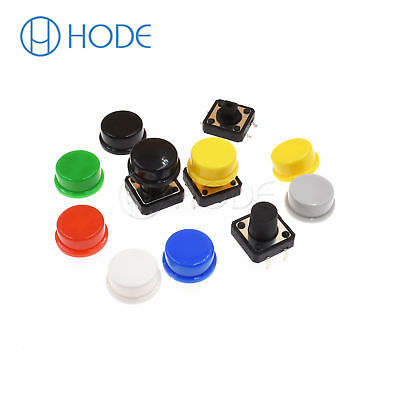 Momentary Tactile Push Button Touch Micro Switch 4P PCB Caps 12x12x7.3mm-12mm UK 6