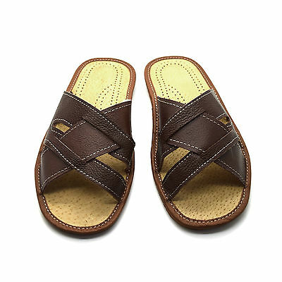 Mens Leather Slippers Slip On Shoes Sandals Size 6 7 8 9 10 11 12 UK Light Brown
