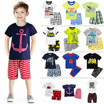 Kids Boys Girls Summer Outfits Clothes Tops T-shirt + Shorts Pants Casual Beach 4