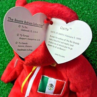 ... Ty Beanie Baby Osito The Mexican Flag Teddy Bear - MWMT - Exclusive Flag  9 28380ff1367e