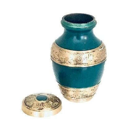 Well Lived® Green Brass Small Keepsake Set of 4 Cremation Urn for human ashes 2