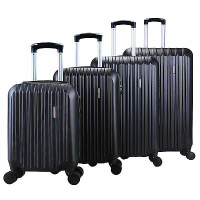 4Pcs ABS Trolley Carry On Travel  Luggage Set Bag Spinner  Suitcase w/Lock Black 2