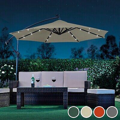 Garden Gear Cantilever Banana Sun Shade LED Parasol Patio 2.7m Hanging Umbrella 2