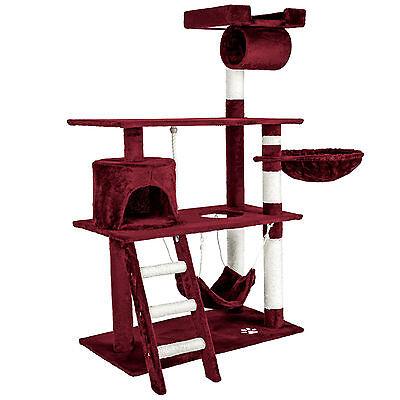 Arbre à chat griffoir grattoir animaux geant avec hamac lit 141 cm hauteur rouge 2