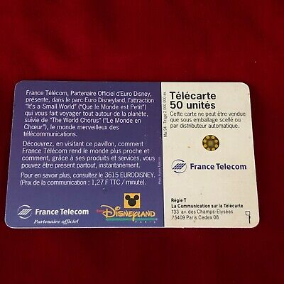 France Telecom Euro Disneyland Paris 1992 Small World Collectable Phone Card 3