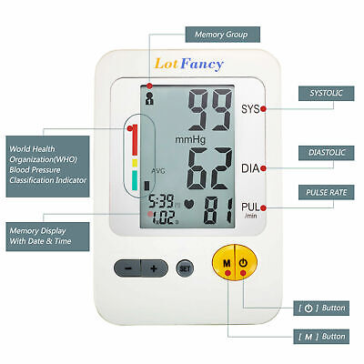 Automatic Arm Blood Pressure Monitor BP & Adapter Gauge Machine Tester Meter CA 3
