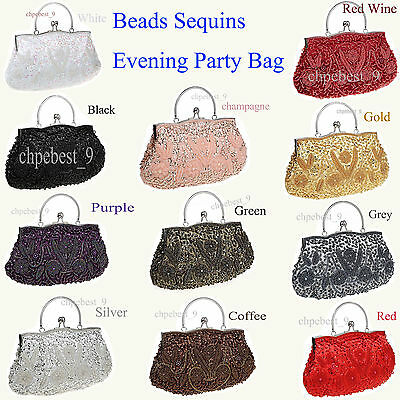 Sequins Pearl Beaded Handmade Gorgeous Bag Party Wedding Evening Clutch Handbags