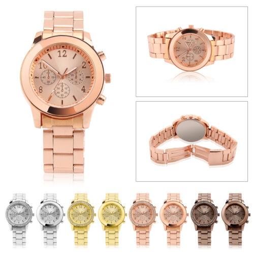 Gold Ladies Women Crystal Diamond Stainless Steel Bracelet Quartz Wrist Watch 4