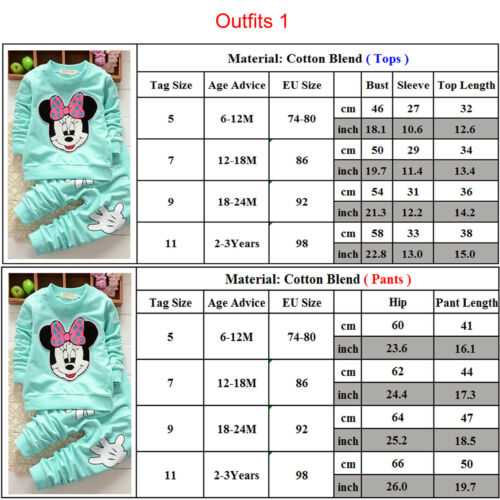 Kids Baby Girls Boys Mickey Minnie Mouse Hoodie Sweatshirt T-Shirt Tops Outfits 4