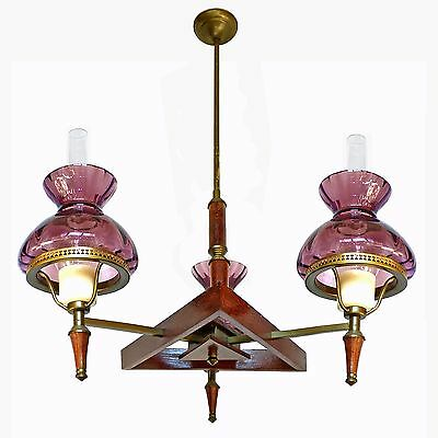 Antique French Art-Deco Purple Amethyst Glass Shades / Wood and Brass Chandelier 4