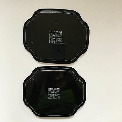 ELITE METAL TRAYS Asian Scene Made in England 7x6 Set of 2 Black Gold Red Tip 5