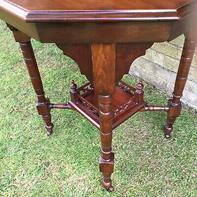 Antique Hall Side Table Victorian Occasional Old Turned Mahogany Stretcher 10