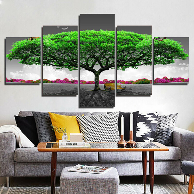 5 Panels Unframed Modern Canvas Art Oil Painting Picture Room Wall Hanging Decor 4