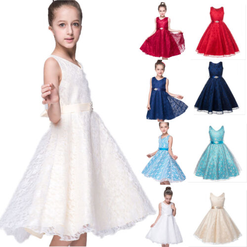 Flower Princess Dress Girls Kids Baby Party Wedding Pageant Formal