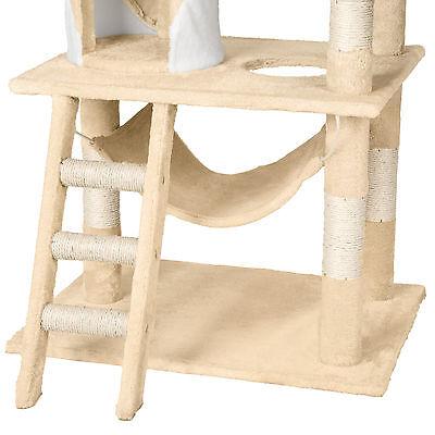 Arbre à chat griffoir grattoir geant avec hamac lit 141 cm hauteur beige blanc 6