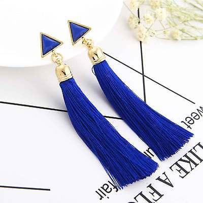 Women Bohemian Fashion Rhinestone Long Tassel Hook Fringe Dangle Drop Earrings 5
