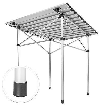 ALUMINIUM FOLDING PORTABLE CAMPING TABLE ROLL TOP PICNIC GARDEN PARTY 70x70cm 2