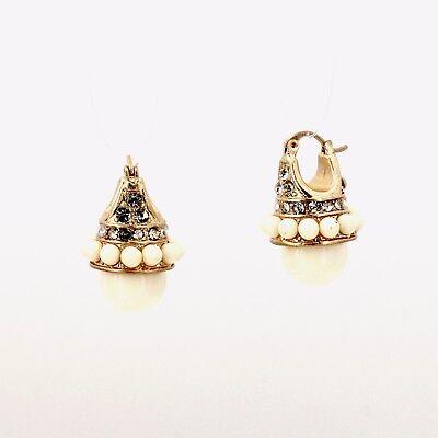 Boucles d/'Oreilles Dormeuse Doré Mini Perle Tout Noir Retro Vintage QD1