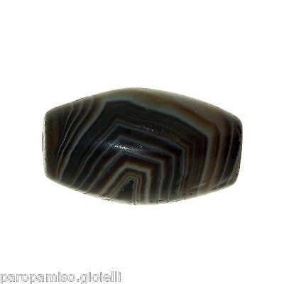Striped Agate Bead from China-Tibet,  中国古董条纹玛瑙珠    (0436) 3