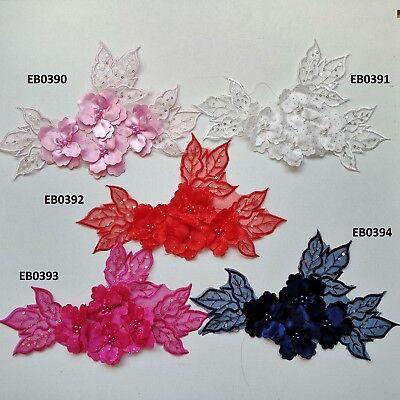 3D Navy Sequined Floral Embroidery Applique Motif Lace Trim EB0394 5