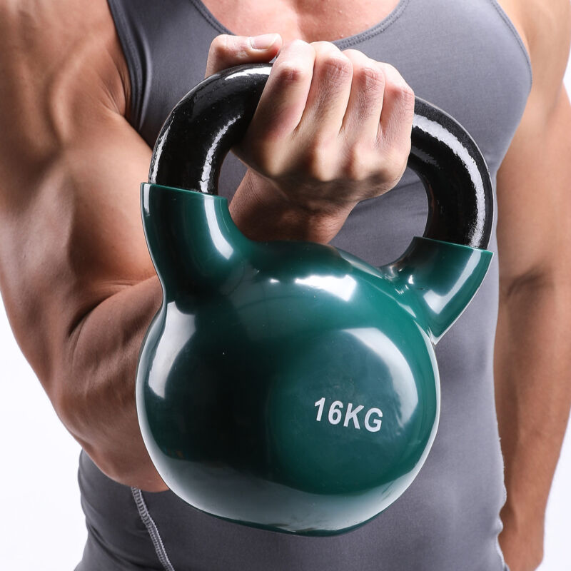 4KG-16KG CAST IRON KETTLEBELLS Vinyl WEIGHT EXERCISE STRENGTH GYM TRAINING 8