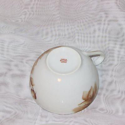 Vintage Cup & Saucer Occupied Japan Hand Painted Brown Rose Teacup Post Ww2 Era 7