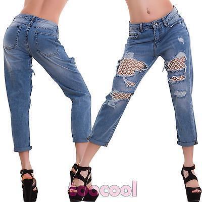 Jeans donna pantaloni elasticizzati cavallo basso skinny strappi nuovi M10278