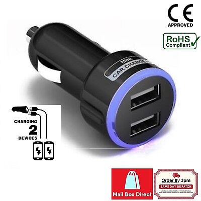 Car Charger Double Usb Twin 2 Port Dual 12-24V Cigarette Socket Lighter Black-W 5