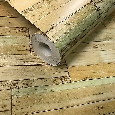 Vinyl Wallpaper textured rustic brown vintage faux barn Distressed wood 3D rolls