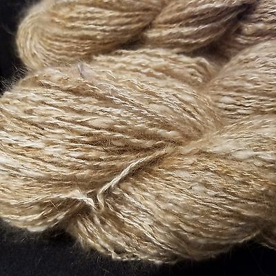CRAZY Handspun Satin Angora Yarn Natural Fawn 30 yds lace to fingering wt 2 ply 6