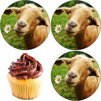 Ziege Tier Eßbar Tortenbild Tortenaufleger Party Deko Geburtstag Muffin Neu 2
