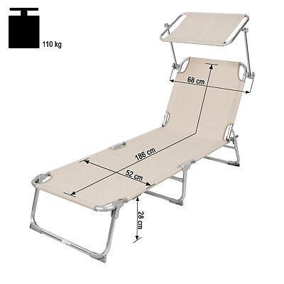 Chaise longue de jardin pliante transat bain de soleil + pare soleil beige 6
