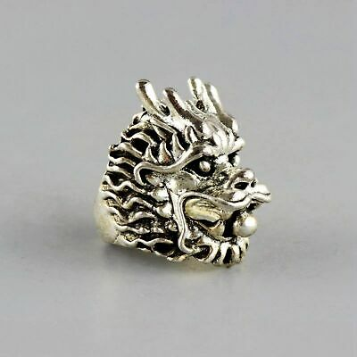 Collect Old Miao Silver Hand-Carved Myth Dragon Moral Exorcism Bring Luck Ring 2