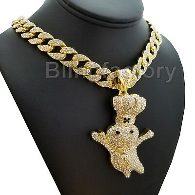 """Iced Hip Hop Large Doughboy Pendant /& 12mm 20/"""" 24/"""" 30/"""" Marina Chain Necklace"""