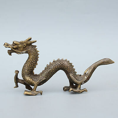 Qianlong Years Collectable Old Copper Hand-Carved Myth Dragon Auspicious Statue 3