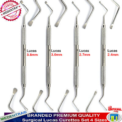 Bone Curette Lucas Surgical Dental Instruments Set of 4 Tooth Socket Debridement 2