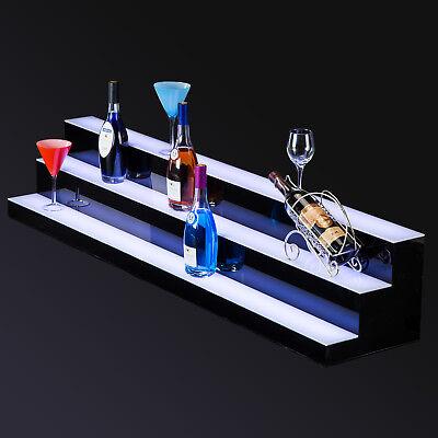 "60"" 3 Step Tier LED Lighted Back Bar Glowing Liquor Bottle Display Shelf Stand 10"