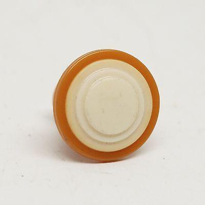 Round Burnt Orange & Tan Plastic Vintage Knob 2