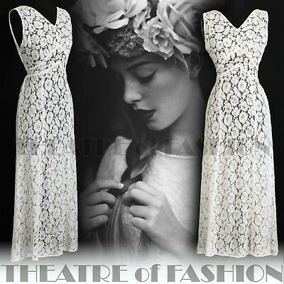 DRESS 30s WEDDING LACE JACKET 20s VINTAGE 40s GATSBY DECO CROCHET GODDESS ICON 8