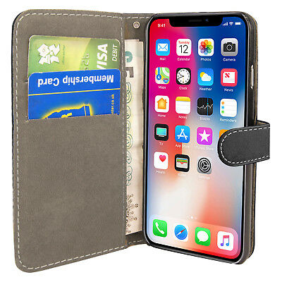 Case for iPhone 6 7 8 5S PLUS XR XS MAX Cover Real Genuine Leather Flip Wallet 2