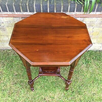Antique Hall Side Table Victorian Occasional Old Turned Mahogany Stretcher 3