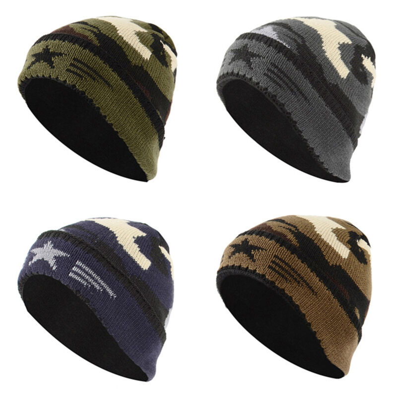 Uomo Donna Cappello Lavorato a Maglia Camouflage Chunky Cappelli Berretto  Pile 2 2 di 12 ... 318f06e2a6a5