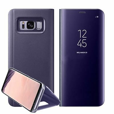 New Samsung Galaxy S7 S8+ S9 + Smart View Mirror Leather Flip Stand Case Cover 9