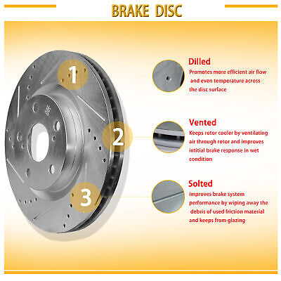 Front Drilled Slotted Vented Disc Brake Rotors+Ceramic Pads Fit Buick//Chevy//GMC