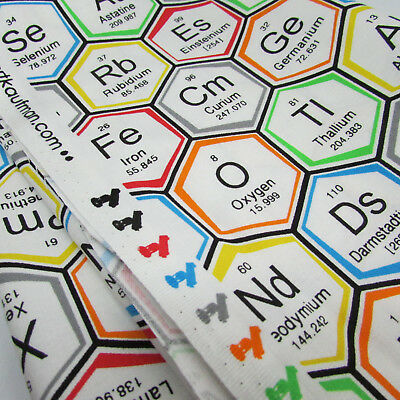 Science fair periodic table 100% cotton fabric by Robert Kaufman per FQT 5