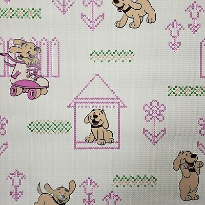 Vinyl Wallpaper Wall Covering Pink Dogs Nursery Kids Room