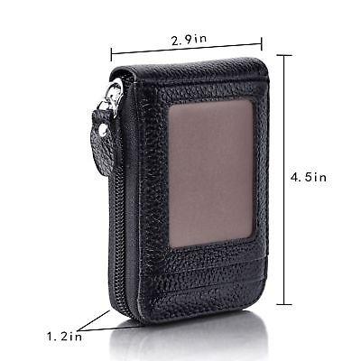 Mini Men Wallet Genuine Leather Credit Card Holder RFID Blocking Zipper Thin  AU 6