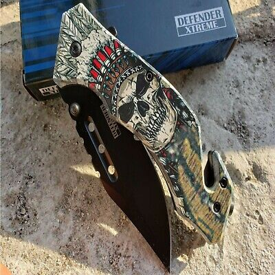 Print Handle Spring Assisted Pocket Knife Folding Tactical Open Serrate Blade 2
